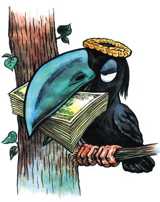 Надписью, открытка с вороной